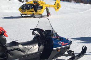Brutte cadute sulle piste da sci: deve intervenire l'elicottero del Suem
