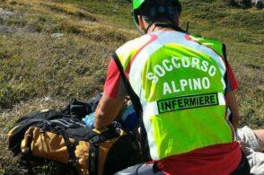 Strappo al polpaccio: scialpinista recuperato dal Soccorso alpino