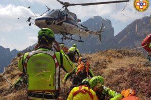 Escursionista ferito recuperato in montagna. Ma è solo una simulazione